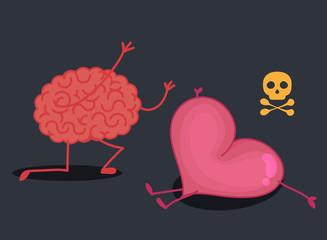 Brain & heart characters: Crime scene