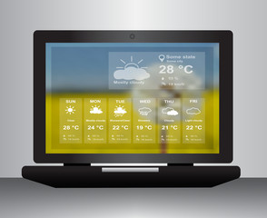 Laptop with weather website