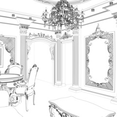 Sketch of classic dining area with vintage carved furniture