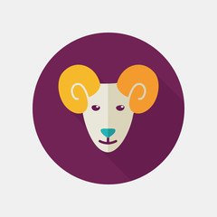 Sheep flat icon with long shadow