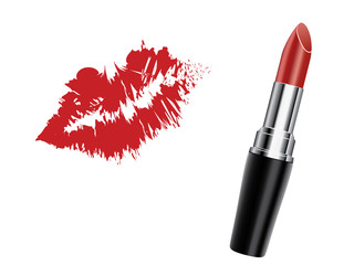 Red lipstick with kiss, vector