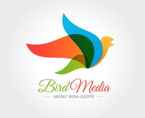Abstract bird vector logo template for branding and design