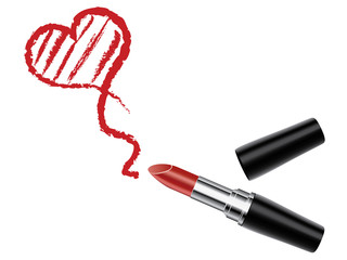 Red lipstick with heart isolated, vector