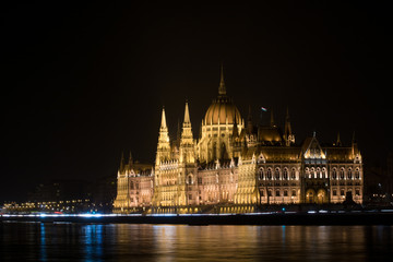 Hungarian Parliament house in Budapest at night