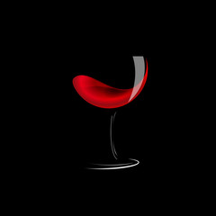Vector sign glass of wine