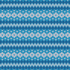 Winter Contrast Geometric Ornament Seamless Pattern in Blue and