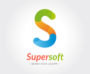 Abstract S character vector logo template for branding and