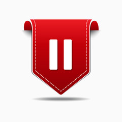 Pause Red Vector Icon Design