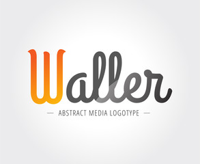 Abstract W character vector logo template for branding and