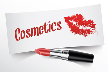 Cosmetics written on note by lipstick with kiss