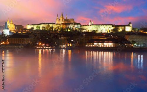 Foto op Canvas Praag Prague Castle from river at sunrise - Czech republic