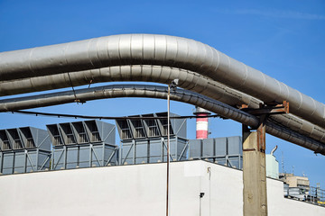Pipes and air filters of the power station