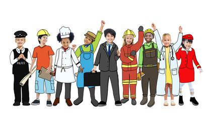 Group of Children Standing Variation Uniform Concept