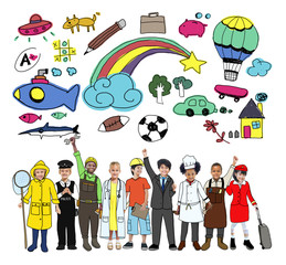 Diversity Cheerful Kids Various Occupations Concept