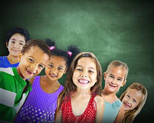 Multi-Ethnic Group of Children Empty Blackboard Concept