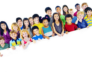 Multi-Ethnic Group Children Holding Banner Concept