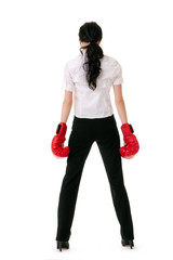 Business woman with red boxing gloves