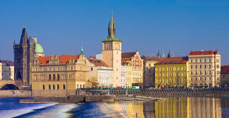 Prague, musée Smetana, vieille ville vue de la rive gauche,