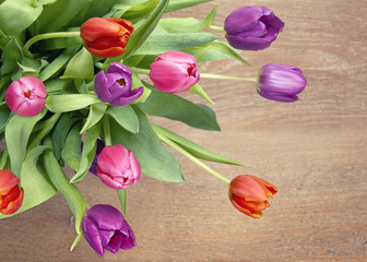 Bright tulips; high angle view and cropped tightly