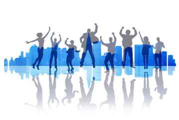 Business People Celebration Success Team Cityscape Concept