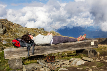 Woman takes a break from hiking