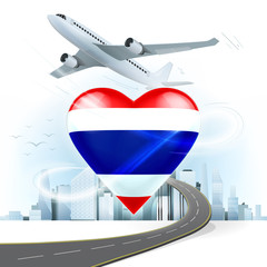 travel and transport concept with Thailand flag on heart