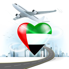 travel and transport concept with Arab Emirates flag on heart