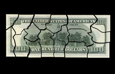 Business concepts. Financial crisis. Cut the money.