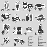 set of typical food allergens for restaurants stickers eps10