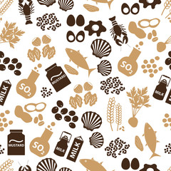 set of food allergens for restaurants seamless pattern eps10