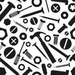 hardware screws and nails with tools seamless pattern eps10