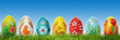 Hand painted Easter eggs on grass. Panorama, banner. - 78749990