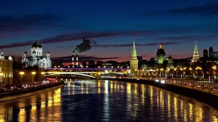 Moscow Kremlin and Cathedral nighr view
