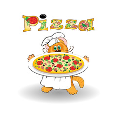 Cat chef cook and pizza
