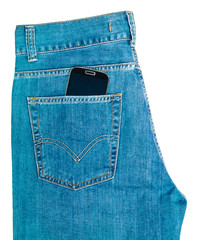 phone in jeans pocket on white