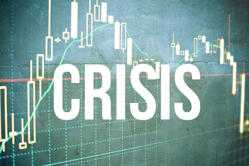 Crisis blue graph with text