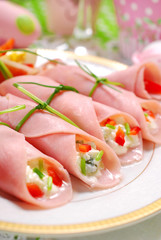 ham rolls stuffed with cheese and vegetables