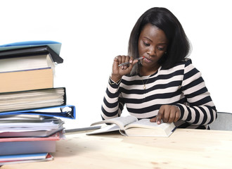 black African American student girl studying textbook