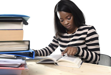 black African American ethnicity student girl studying book
