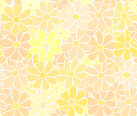 Cartoon Flower Pattern with Careless White Hand Drawn Lining
