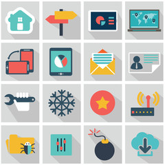 Abstract vector set of colorful flat business and finance icons.