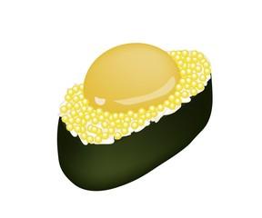 Yellow Tobiko Sushi with Uzura or Raw Quail Egg