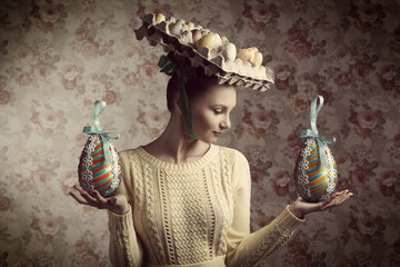vintage woman with easter eggs