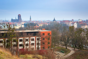 Panorama of the city centre in Gdansk, Poland