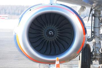 Plane turbojet. Front view.