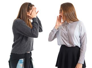 Girl shouting at her sister