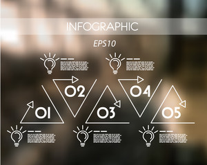 white triangular linear infographic with bulbs