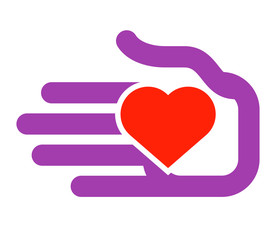 hand and heart on a white background. color icon