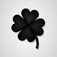 black 3D Clover flower isolated on white background