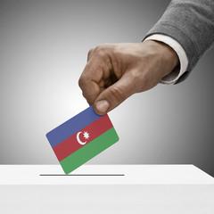 Black male holding flag. Voting concept - Azerbaijan